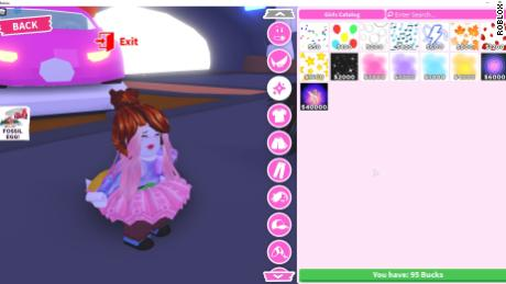 A screenshot of one of Roblox's most popular games, displaying purchases that can be made with real money.