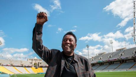 Soccer legend Pele at the Olympic Stadium in Barcelona on September 2, 2017.