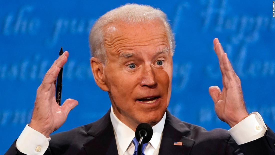 "Biden speaks during his debate with Trump in October 2020. Because <a href=""http://www.cnn.com/2020/09/29/politics/gallery/biden-trump-first-2020-presidential-debate/index.html"" target=""_blank"">their first debate</a> quickly descended into a glorified shouting match, the Commission on Presidential Debates instituted <a href=""https://www.cnn.com/2020/10/22/politics/presidential-debate-tonight/index.html"" target=""_blank"">an unprecedented change this time around:</a> The candidates had their microphones cut off while their opponent responded to the first question of each of the debate's six segments."