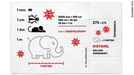 แสตมป์ที่ทำจากกระดาษชำระสามชั้นมีรูปลูกช้างซึ่งมีการใช้ความยาว 1 เมตรในออสเตรียเพื่อเป็นเครื่องเตือนใจถึงระยะห่างทางสังคมที่แนะนำ
