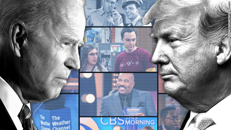 These three charts show Trump and Biden's favorite TV shows for campaign ads