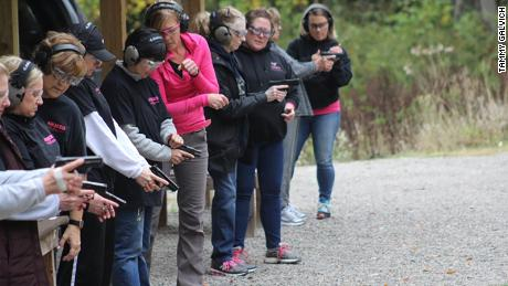 """Licensed gun instructor Kelly Pidgeon trains students at """"Armed and Feminine,"""" her gun range for female gun owners in west central Pennsylvania on October 4, 2020."""