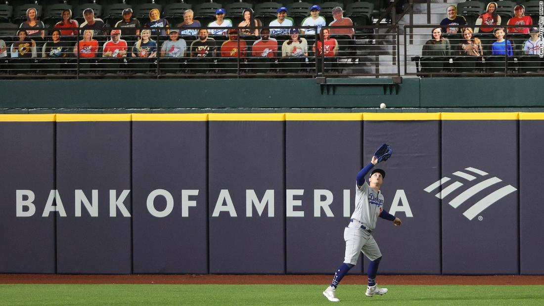 Joc Pederson catches a fly ball in the second inning of Game 3.