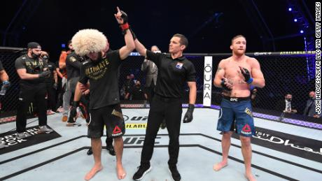 Nurmagomedov celebrates his victory over Gaethje