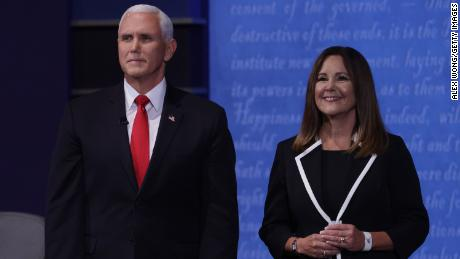 Vice President Mike Pence and wife Karen Pence appear on stage after the vice presidential debate against Democratic vice presidential nominee Sen. Kamala Harris.
