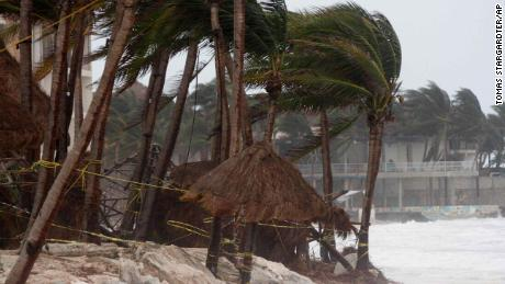 Palm trees are buffeted by the winds of Hurricane Zeta in Playa del Carmen, Mexico, early Tuesday, Oct. 27, 2020.