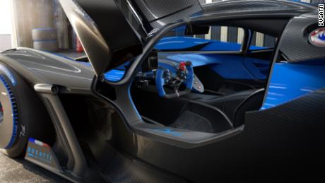 To save weight, the Bugatti Bolide's interior, shown in an illustration, has none of the shiny metal or quilted leather seen in some of Bugatti's other cars.