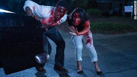 "(From left) Jonathan Majors and Jurnee Smollett star as Atticus Freeman and Letitia ""Leti"" Lewis, who embark on a road trip in a sinister 1950s Jim Crow America in ""Lovecraft Country."""