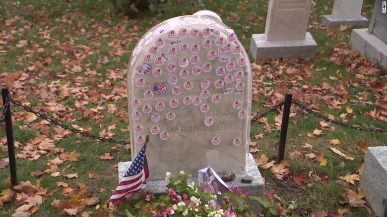 People who place their 'I Voted' stickers on Susan B. Anthony's headstone will notice something different there this year