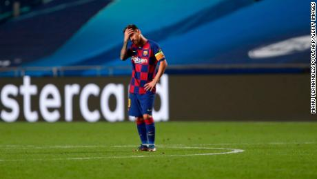 Messi reacts during the Champions League quarter-final match between Barcelona and Bayern Munich.