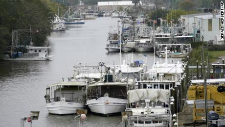 The Violet Canal in Louisiana is crowded with boats that were moved inland for protection on Wednesday, October 28.
