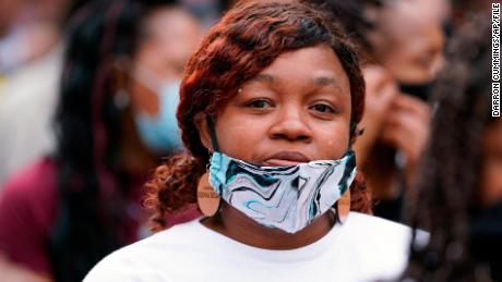 Tamika Palmer, Breonna Taylor's mother, marches with Black Lives Matter protesters in Louisville in September.