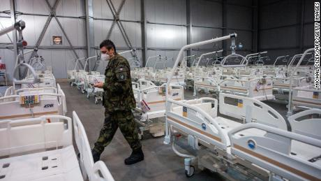 An army officer at the Covid-19 field hospital in Prague on October 22, built by the Czech army, with a capacity of 500 beds.