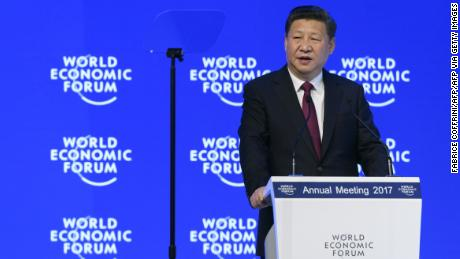 China's President Xi Jinping delivers a speech during the first day of the World Economic Forum, on January 17, 2017 in Davos.