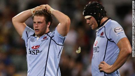 Palmer (left) played for Super Rugby side the Waratahs before joining the Brumbies.