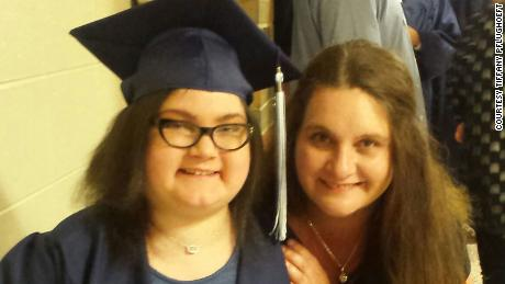 Amber Pflughoeft on the day of her high school graduation with her mother, Tiffany Pflughoeft.