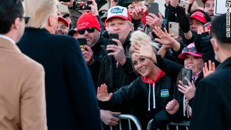 President Trump greets supporters before speaking at a campaign rally on October 30, 2020, in Rochester, Minnesota.