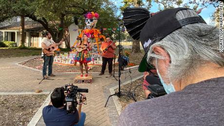 Jim Mendiola filmed a video in front of the community altar in San Antonio for this year's virtual celebration for Día de los Muertos at Hemisfair.