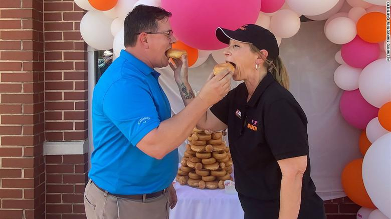 A couple got married at the Dunkin' drive-thru where they met
