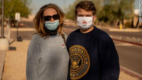 Kristen Clark and her son Kyle Schmidt voted for President Donald Trump. Schmidt, a first-time voter, said he thought the President had handled the coronavirus pandemic the best he could have given the information he had at the time.