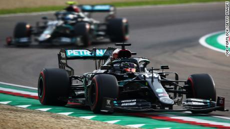 Hamilton on track during the Emilia Romagna GP.