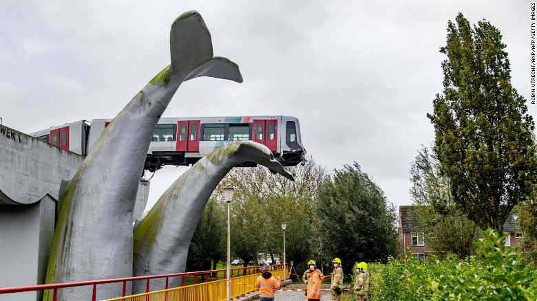 Whale of a ride: Crashed subway train lands on giant sea creature sculpture