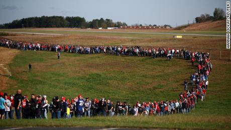 Supporters line up for a Trump rally in Hickory, North Carolina, on November 1, 2020.