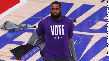 LeBron James has encouraged people to vote at this year's US election.