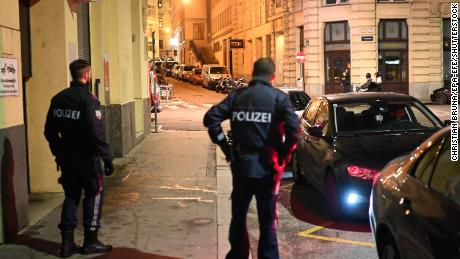 Police respond to a shooting near Vienna's main synagogue.