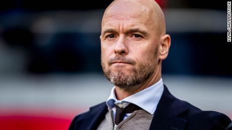 Ajax manager ten Hag during its match against Feynoord.