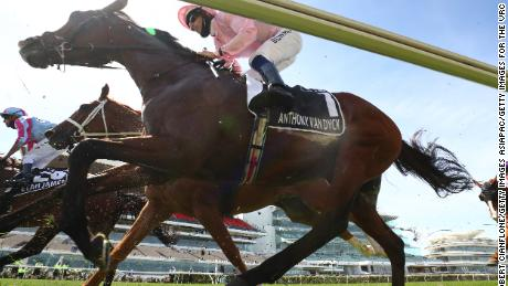 Hugh Bowman rides Anthony Van Dyck during the start of the Melbourne Cup.