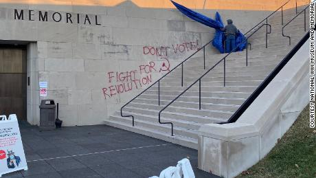 The vandalism occurred overnight before the memorial opened its doors to voters at 6 am.