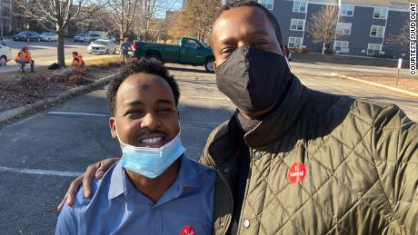 Suud Olat, 29, flew from Nairobi, Kenya to Minneapolist, Minnesota in order to vote this morning with friend, Abshir Omar.