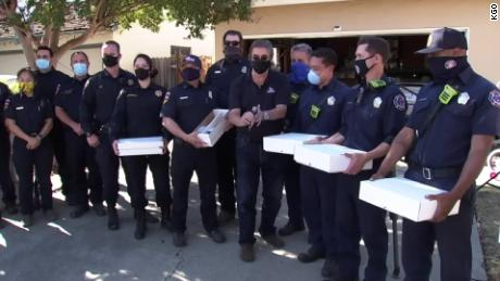 Members of Cal Fire helped transport the baseball cards to Reese's home in Fresno on October 30.
