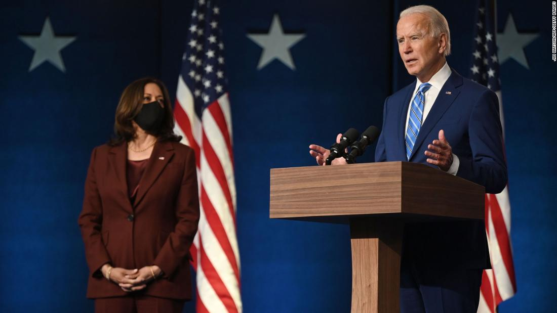 "Biden is joined by his running mate, US Sen. Kamala Harris, after Election Day came and went without a winner. ""After a long night of counting, it's clear that we are winning enough states to reach 270 electoral votes needed to win the presidency,"" <a href=""https://www.cnn.com/politics/live-news/election-results-and-news-11-04-20/h_2e8f9b7832e2516441271b3280870bfc"" target=""_blank"">Biden told supporters</a> at a drive-in rally in Wilmington, Delaware. ""I'm not here to declare that we have won. But I am here to report when the count is finished, we believe we will be the winners."""