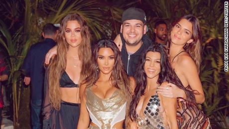 The gang is all here: Shown are (from left) Khloe Kardashian, Kim Kardashian West, Rob Kardashian, Kourtney Kardashian and Kendall Jenner at Kardashian West's 40th birthday bash.