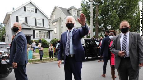 Joe Biden stops in front of his childhood home on July 9, 2020 in Scranton, Pennsylvania.