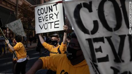 Protesters in Philadelphia show their support for vote counting on November 5.