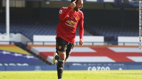 Bruno Fernandes  celebrates after scoring Manchester United's equalizer against Everton in the Premier League.