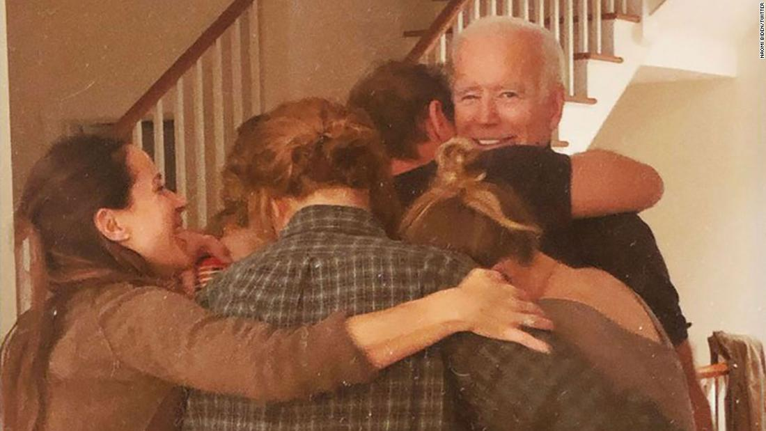 "Biden is embraced by family members in this photo <a href=""https://twitter.com/NaomiBiden/status/1325190941058113536"" target=""_blank"">that was tweeted</a> by his granddaughter Naomi. It was captioned ""11.07.20"" -- the date the race was called."