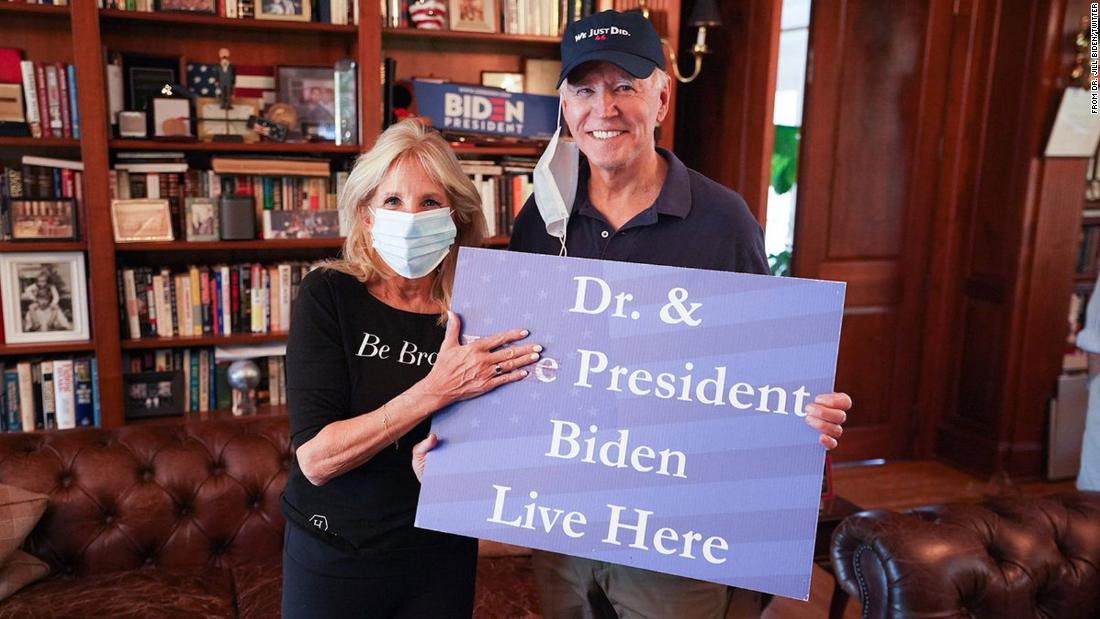 "Biden's wife, Jill, <a href=""https://twitter.com/DrBiden/status/1325146858763718658"" target=""_blank"">tweeted this photo</a> after her husband was projected as the winner of the presidential race. ""He will be a President for all of our families,"" she said."