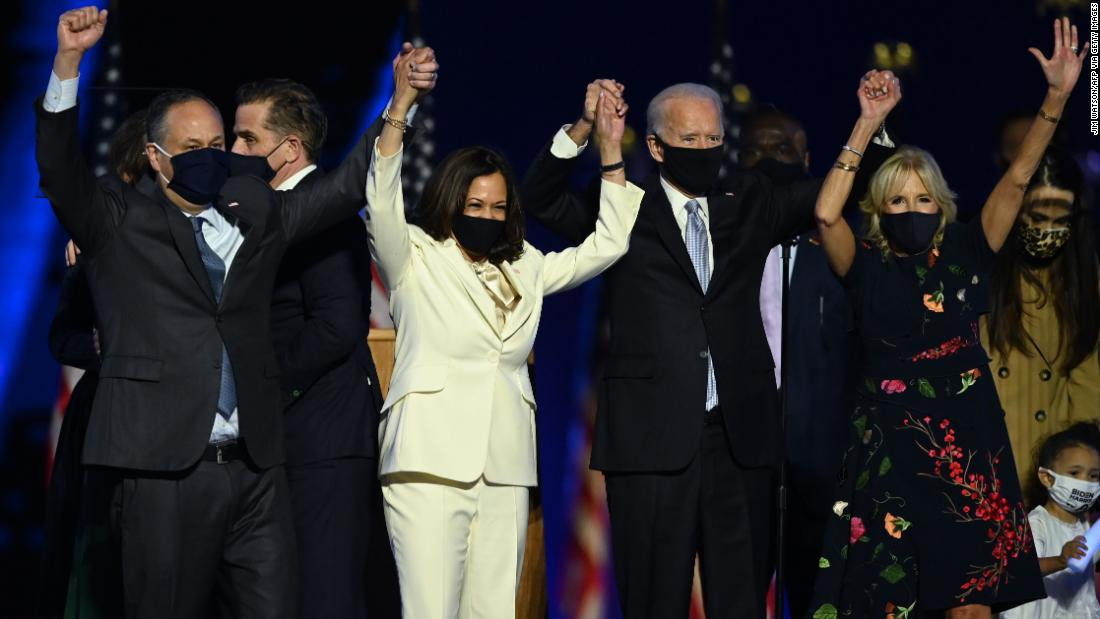 Biden and Harris are joined by their spouses after Biden gave a victory speech in Wilmington, Delaware, in November 2020.