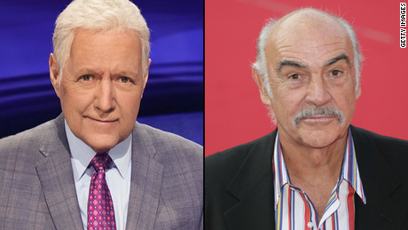 "(From left) Beloved ""Jeopardy!"" host Alex Trebek and iconic Academy Award-winning actor Sean Connery passed eight days apart."