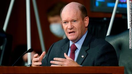 Sen. Chris Coons speaks during the confirmation for Supreme Court nominee Judge Amy Coney Barrett before the Senate Judiciary Committee in October.