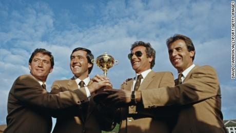 Manuel Pinero, Ballesteros, Jose Maria Canizares and Jose Rivero celebrate Europe winning the 26th Ryder Cup in 1985.