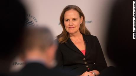 Michele Flournoy, president of the Center for a New American Security, looks on during a conference on the transition of the US presidency from Obama to Trump on January 10, 2017, in Washington, DC.
