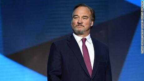 Jim Belushi presented the Vezina Trophy during the 2018 NHL Awards on June 20, 2018, in Las Vegas.
