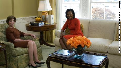 First lady Laura Bush meets with Michelle Obama in the private residence of the White House November 10, 2008.