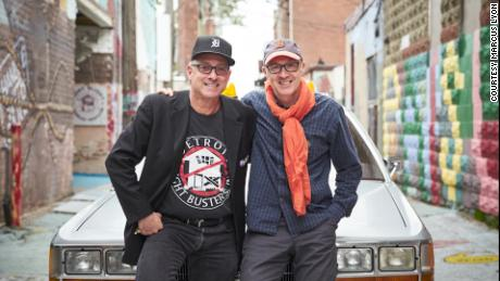 British artist Marcus Lyon poses for a photo with Detroit Blight Buster's executive director, John George.