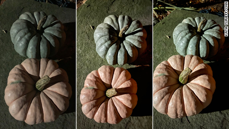 Pumpkins captured by the iPhone XR (left), iPhone 12 Mini (middle) and iPhone Pro Max (right) at night time.